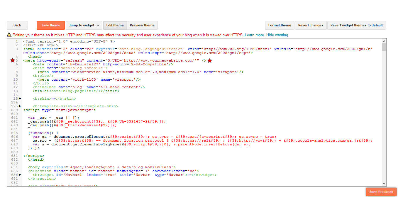 How To Redirect a Blogspot Blog Theme With Redirect Code